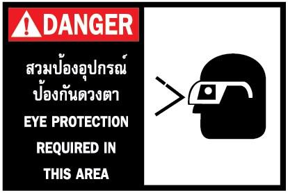 DANGER สวมป้องอุปกรณ์ป้องกันดวงตา